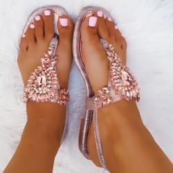 Rose gold sandále s kamienkami Leila