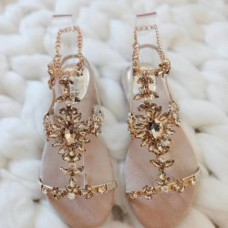 Sandálky s kamienkami Moana zlaté