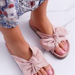 Púdrovo ružové šľapky s mašľou Meggie