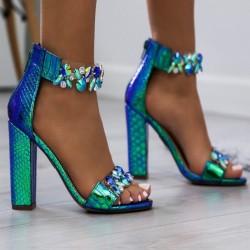 Luxusné sandálky s kryštálikmi Sally modré