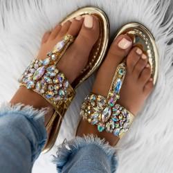 sandále s kameňami Ashley zlaté