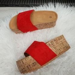 Platformové šľapky Maya červené