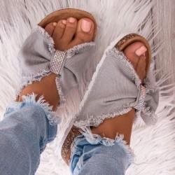 Sivé šľapky s mašľou Linda