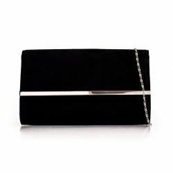 Semišová listová kabelka Morgan čierna