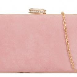 Semišová kabelka v pevnom obale Zoe ružová