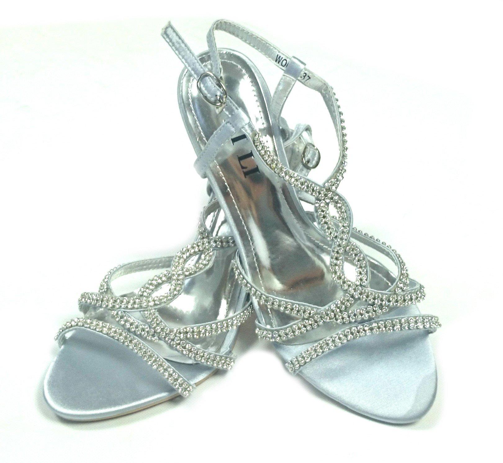 591864c21e94d Spoločenské sandále Lina strieborné · Kliknite pre zväčšenie obrázku